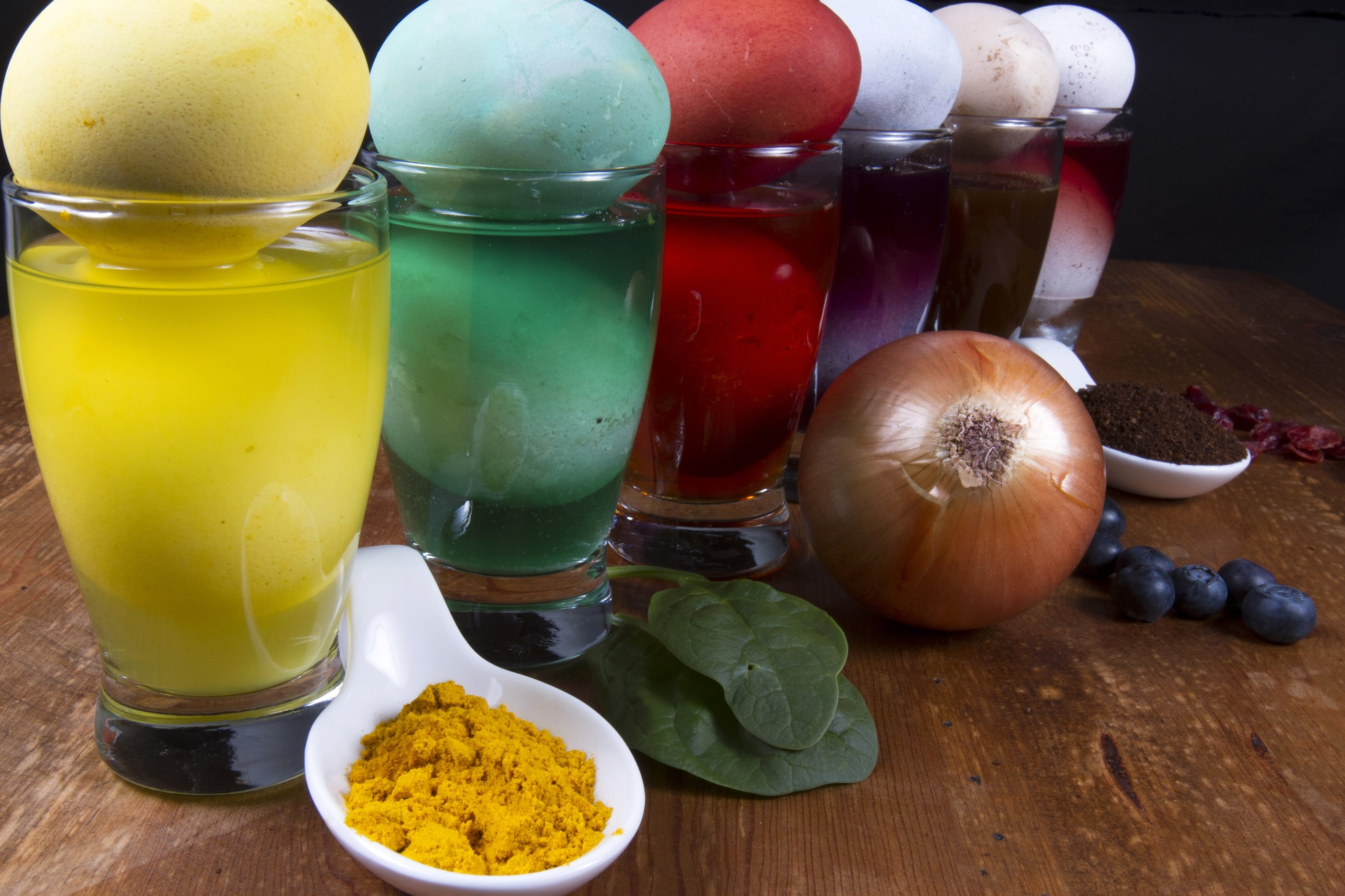 Easter egg dyes made from natural ingredients to produce multi-colored results