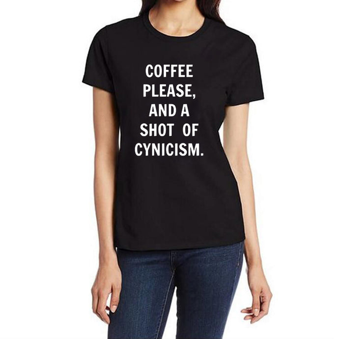 Coffee please, and a shot of cynicism T-ShirtATTITUDE APPARELGRAPHIC T-SHIRT Slogan Printed Tee unique high quality quirky plus size original sale black white Australian humourous funniest flirty crazy naughty novelty cute top word art pop culture pun BIPOLAR BARBIE