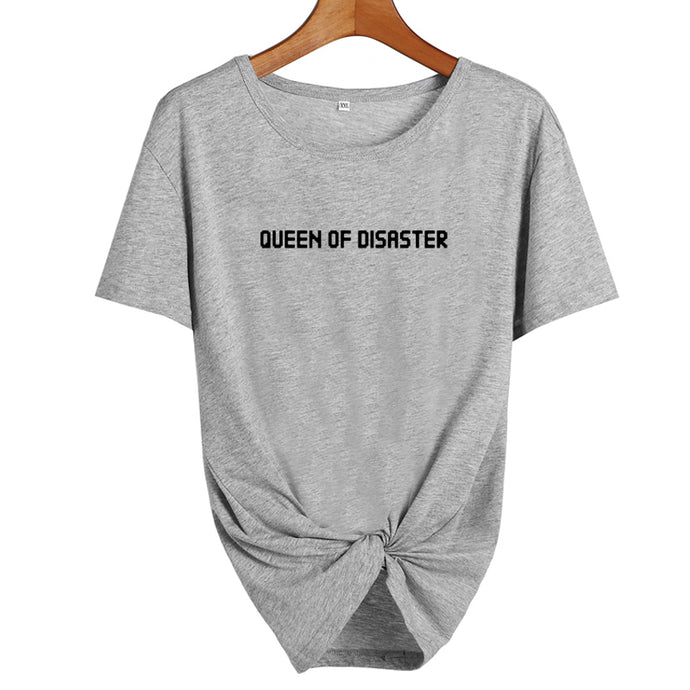 Queen Of Disaster T-ShirtATTITUDE APPARELGRAPHIC T-SHIRT Slogan Printed Tee unique high quality quirky plus size original sale black white Australian humourous funniest flirty crazy naughty novelty cute top word art pop culture pun BIPOLAR BARBIE