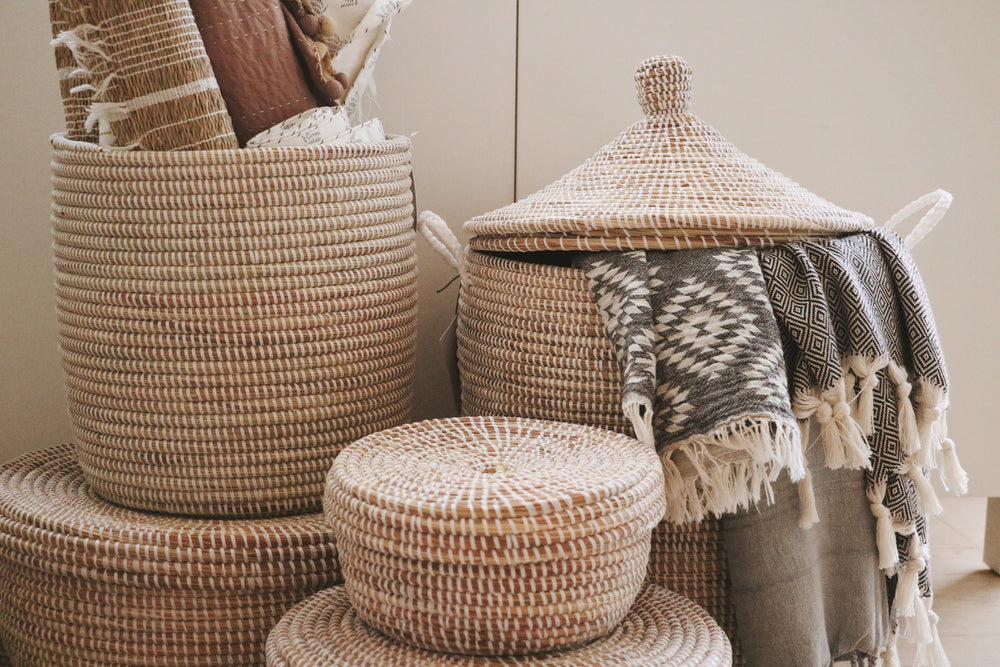 Handmade baskets used for storage and organization. Also used for decor.
