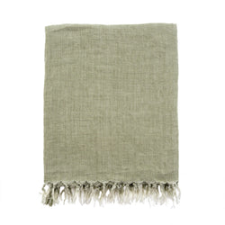 Lina Linen Throw, Olive