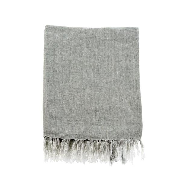 Lina Linen Throw, Flint Gray