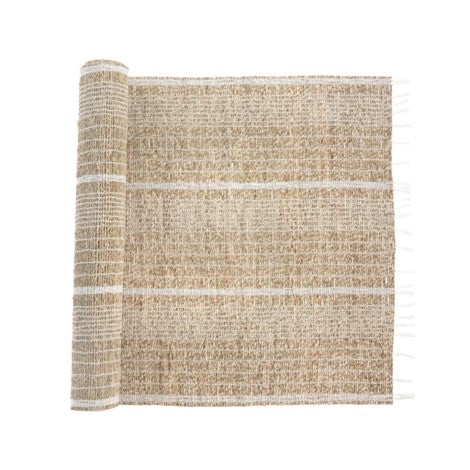 Seagrass Table Runner, White Stripe