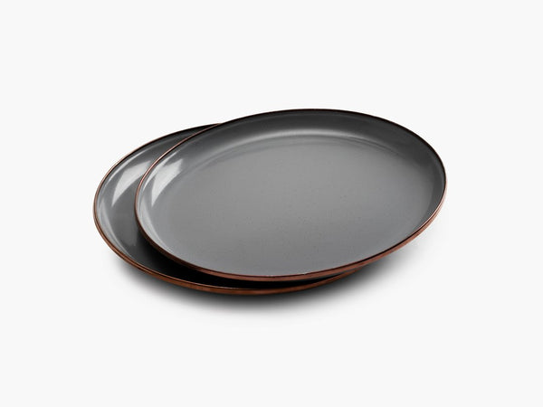 Enamel Deep Plate Set - Slate Gray