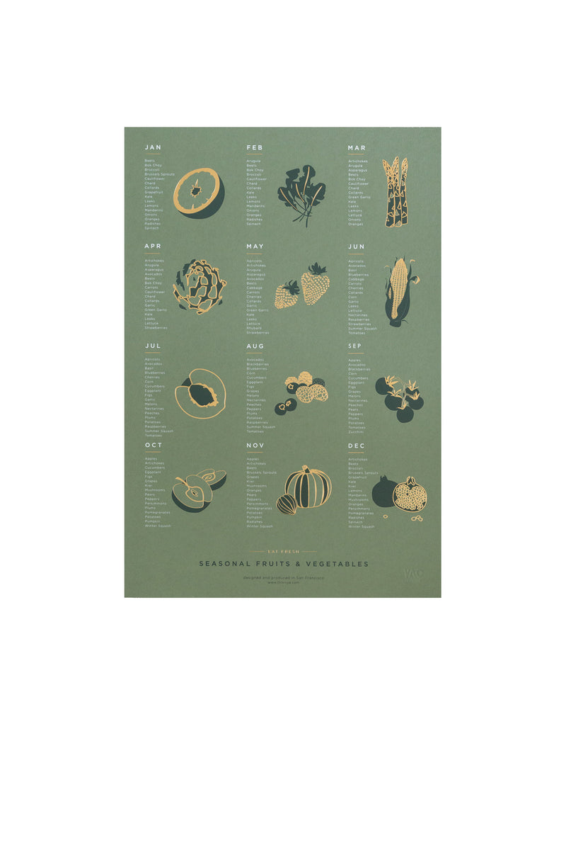 Fruit + Vegetable Seasonal Poster