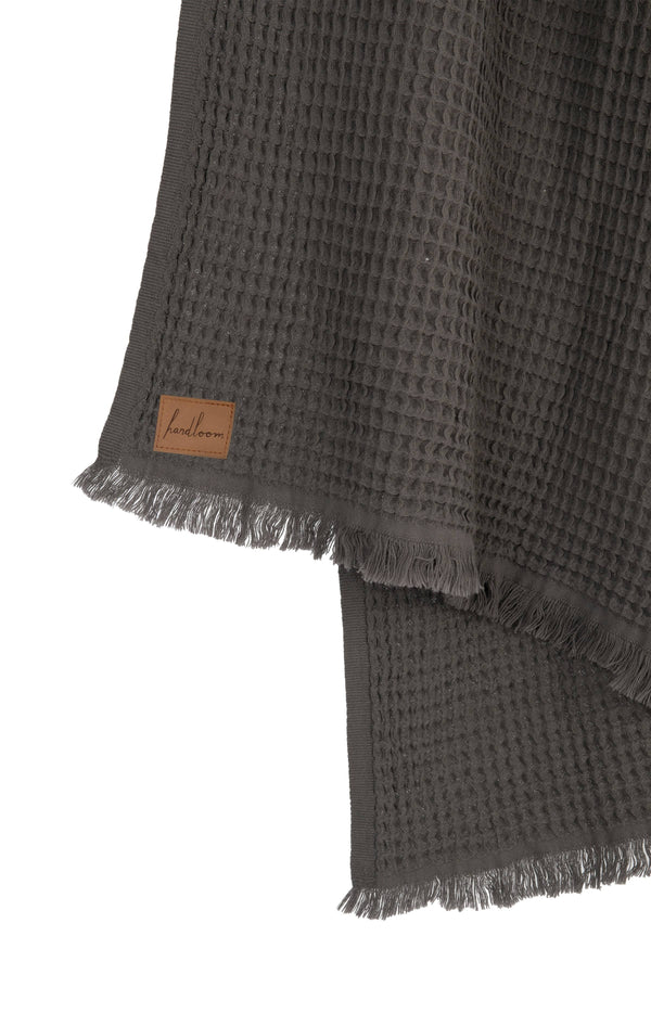 Soft Waffle Turkish Towel - Charcoal Grey
