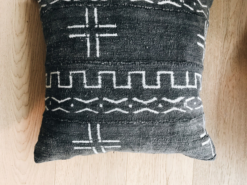 Zion Grey Mudcloth Pillow