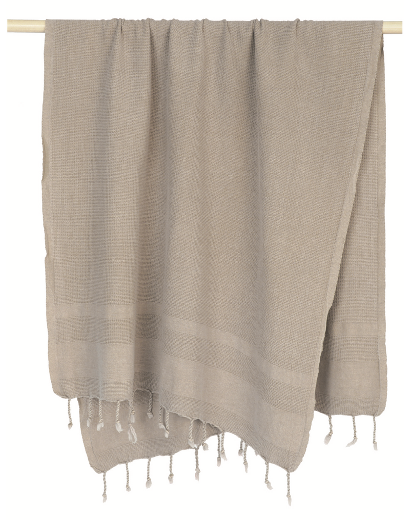 Stone washed grey coloured Turkish Towel with fringed trim. Made from 100% Turkish cotton. Shop online. Local Swift Current SK Shop. Home decor. Bath