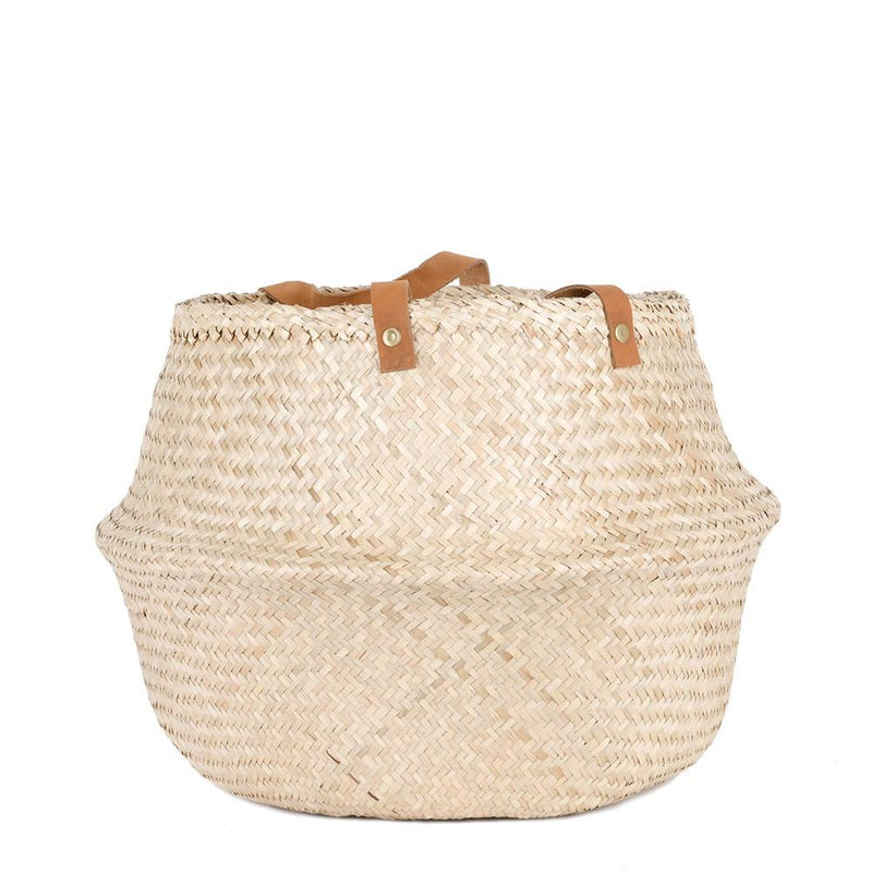Woven Collapsible Rice Belly Basket - Leather Handle
