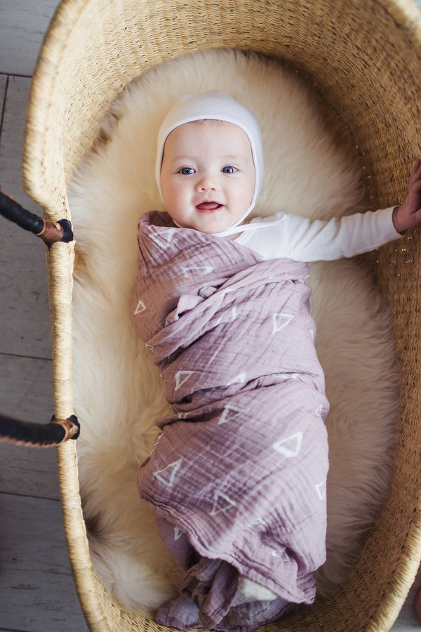 Muslin Swaddle Blanket - Blush Triangles