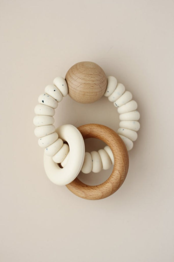 Silicone + Wood Teether Ring - Cream