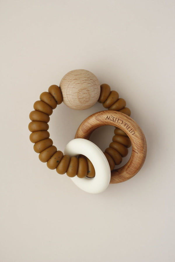 Silicone + Wood Teething Ring - Rust