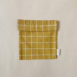 Haps Nordic Reusable Sandwich bag in Mustard colour with check pattern with velcro closure. Washable, sustainable snack bag. Canadian Retailer, shop online
