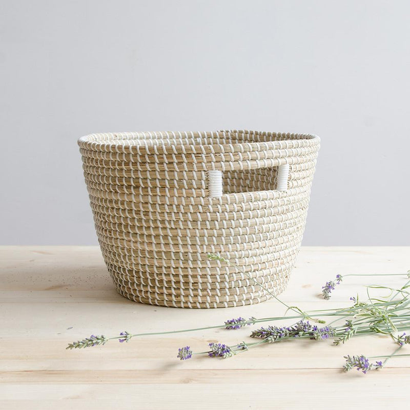 Nina Woven Storage Basket - Medium - White