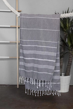 Grey with white stripes, Turkish Towel with fringe edging. Made of 100% Turkish Cotton. Shop online. Local Swift Current SK Shop. Towel. Bath. Beach Towel. Decor.