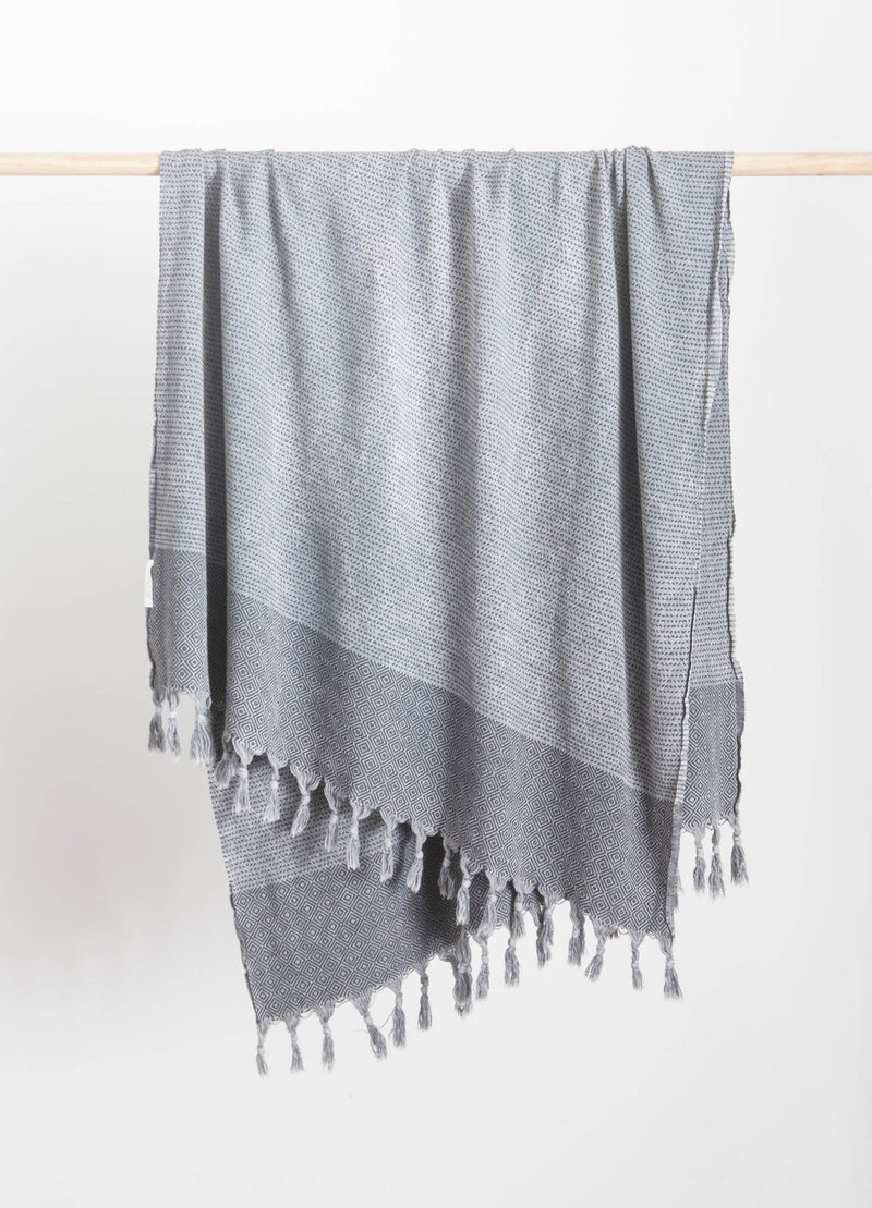 A black and white patterened Turkish Towel with white fringe tassel edging. Made of 100% Turkish Cotton. Beach Towel, Bath Towel. Shop Online. Local Swift Current SK Shop. Prairie Living. modern bohemian. Home decor
