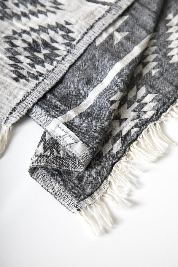 A grey and white tribal patterned Turkish Towel. Made from 100% Turkish Cotton. Can be used as a bath towel, beach towel, throw, blanket, scarf, yoga mat. Lightweight and great for travelling. Lightweight and fast drying. Shop online. Local Swift Current SK Shop.  Modern prairie living. Home decor. The Home Quarter Shop.