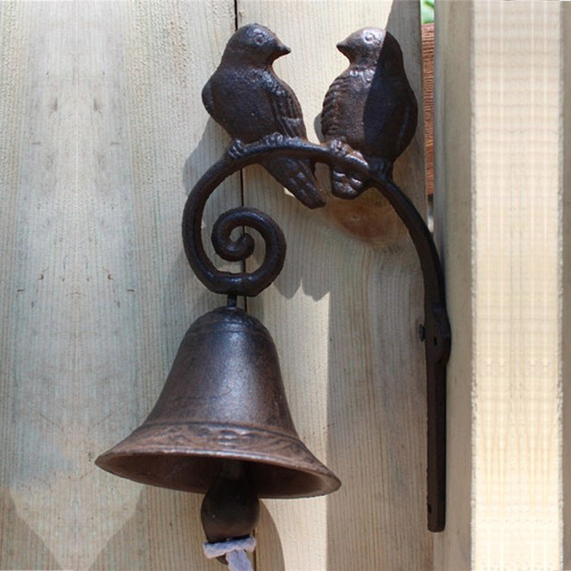 Wall Decor - Rustic Iron Bell Dinner With 2 Welcoming Finches