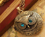 Necklace - Cute Blue Eyed Round Owl Pendant Necklace
