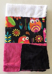 Blanket - Handmade Heavenly Plush Fleece Owl Double Strip with Hot Pink, White and Black Minky
