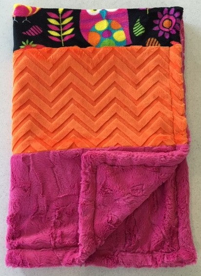 Blanket - Handmade Heavenly Plush Fleece Owl Strip Blanket with Bright Orange and Hot Pink Minky
