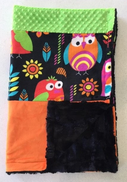 Blanket Handmade Heavenly Plush Fleece Owl Strip Blanket with Bright Green and Orange Minky