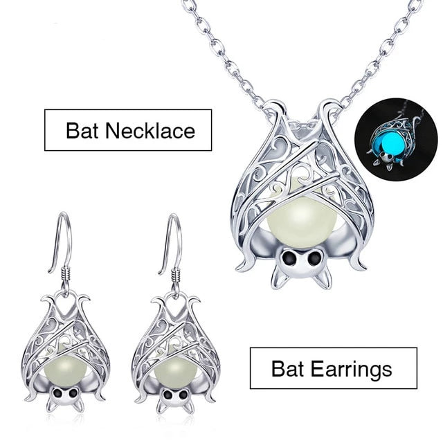 Sterling Silver Jewelry Set  - Glow in the Dark Bat Earrings and Bat Pendant Necklace