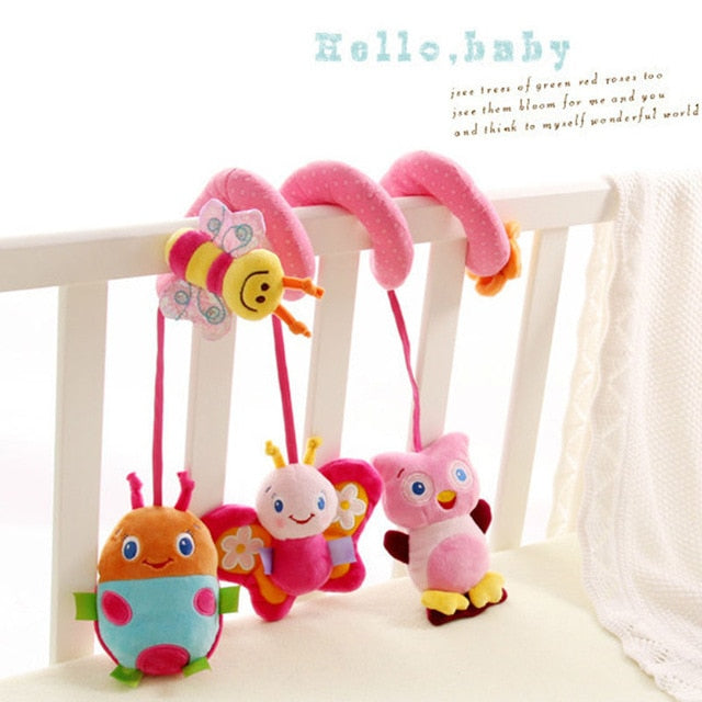 Baby Crib Hanger with Plush Owl, Butterfly, Lady Bug and Butterfly