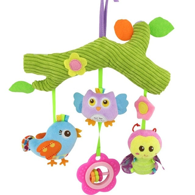 Stroller, Crib, or Car Seat Hanger for Baby - Cartoon Stuffed Plush Owl, Bluebird and Bee
