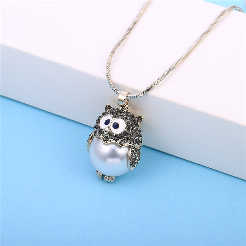 Necklace - Rollie Pollie Sparkly Owl Pendant with Pearl Bodies