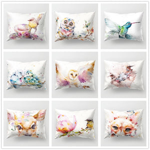 Pillow/Cushion Covers - Rectangular Colorful Watercolor Birds