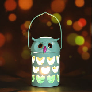Brightly Colored Owl Lantern Style Candle Holder