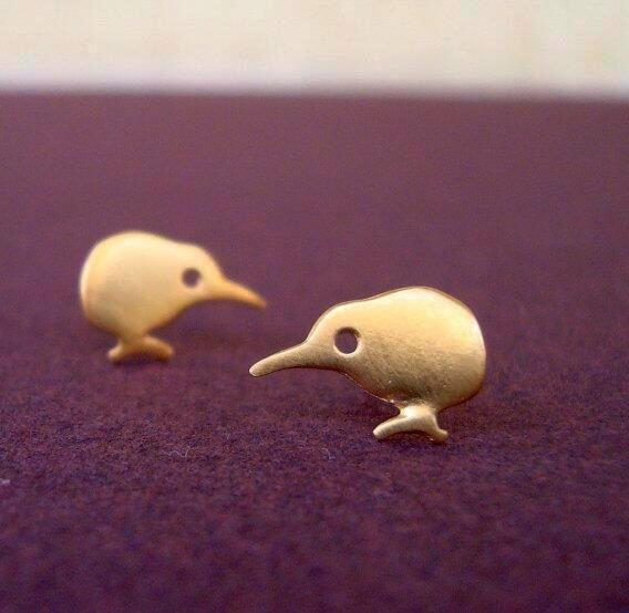 Earrings - Tiny Kiwi Birds in Gold or Silver Color