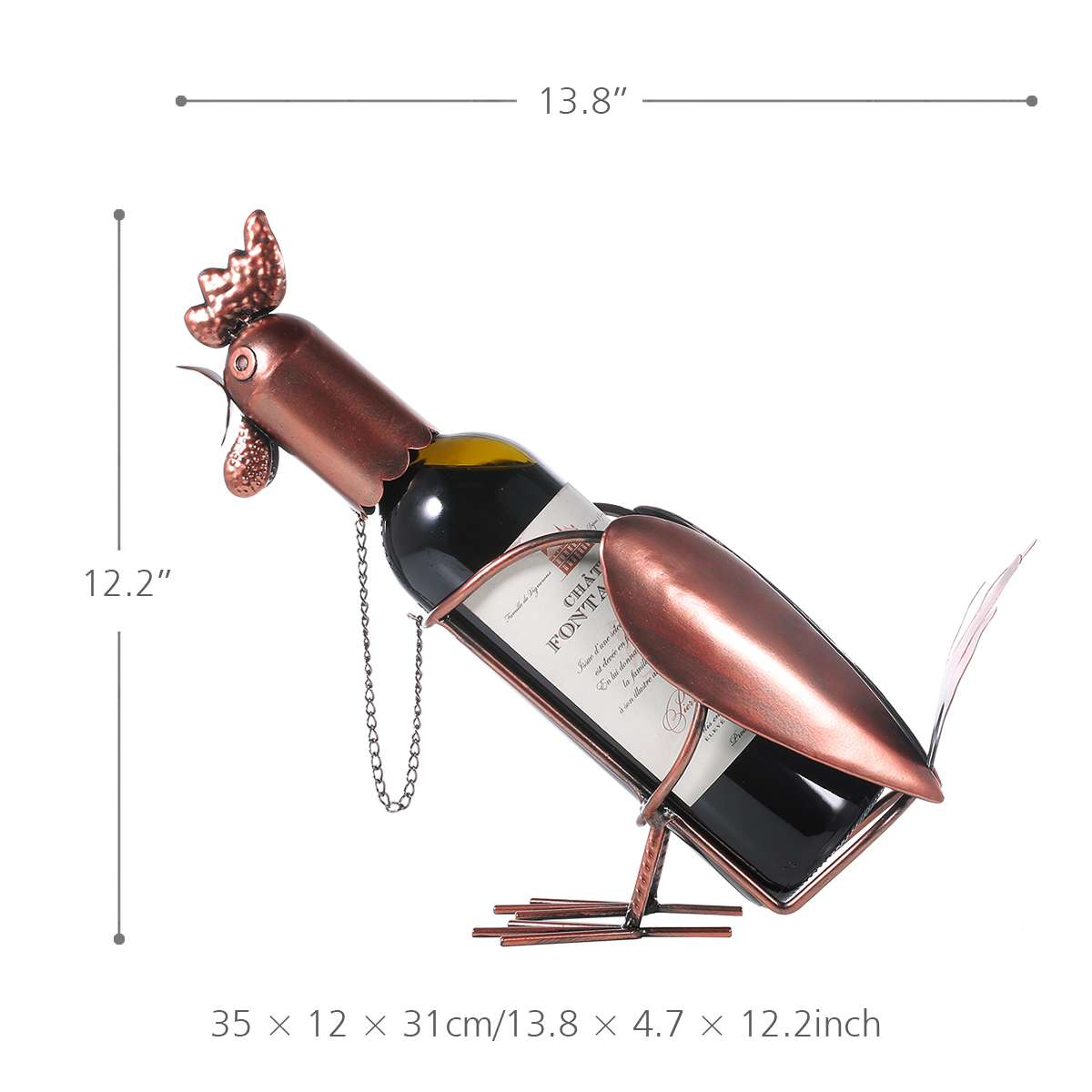 Metal Modern Rooster Bottle Holder