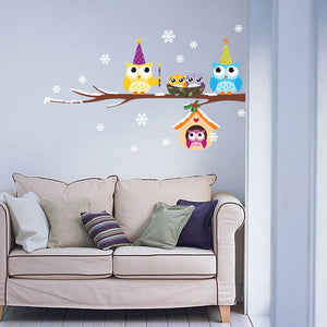 Vinyl Wall Art - Cartoon Owls On a Branch