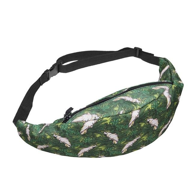 Bag -  Woman's Parrot and Grass Patterned Waist Pack