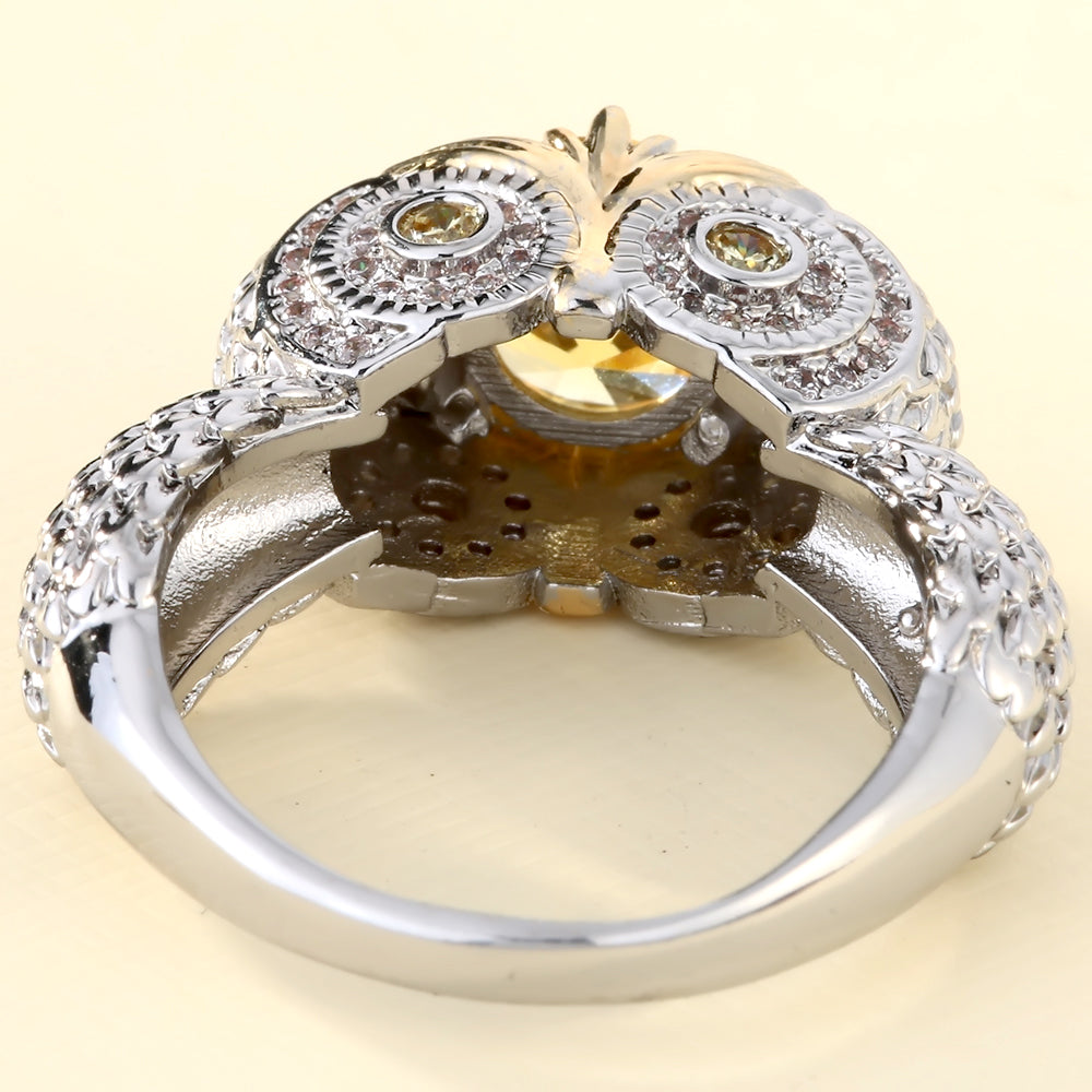 Ring - Silver Colored Owl Ring with Bright CZ Stone