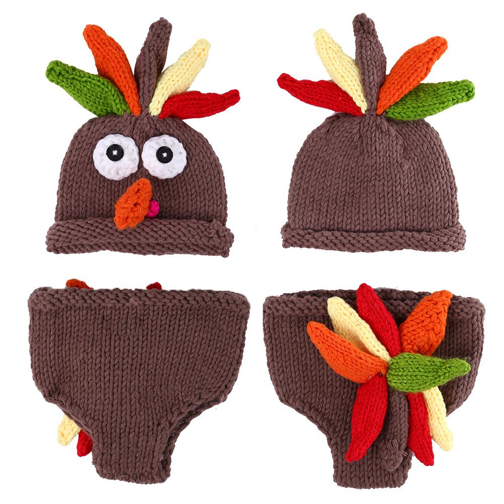 Crocheted/Knitted Turkey Hat and Diaper Cover for Baby