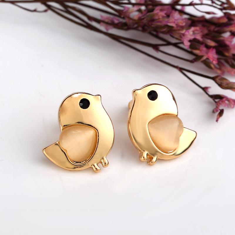 Earrings - Gold Plated Little Bird Stud Earrings with Opal Wings