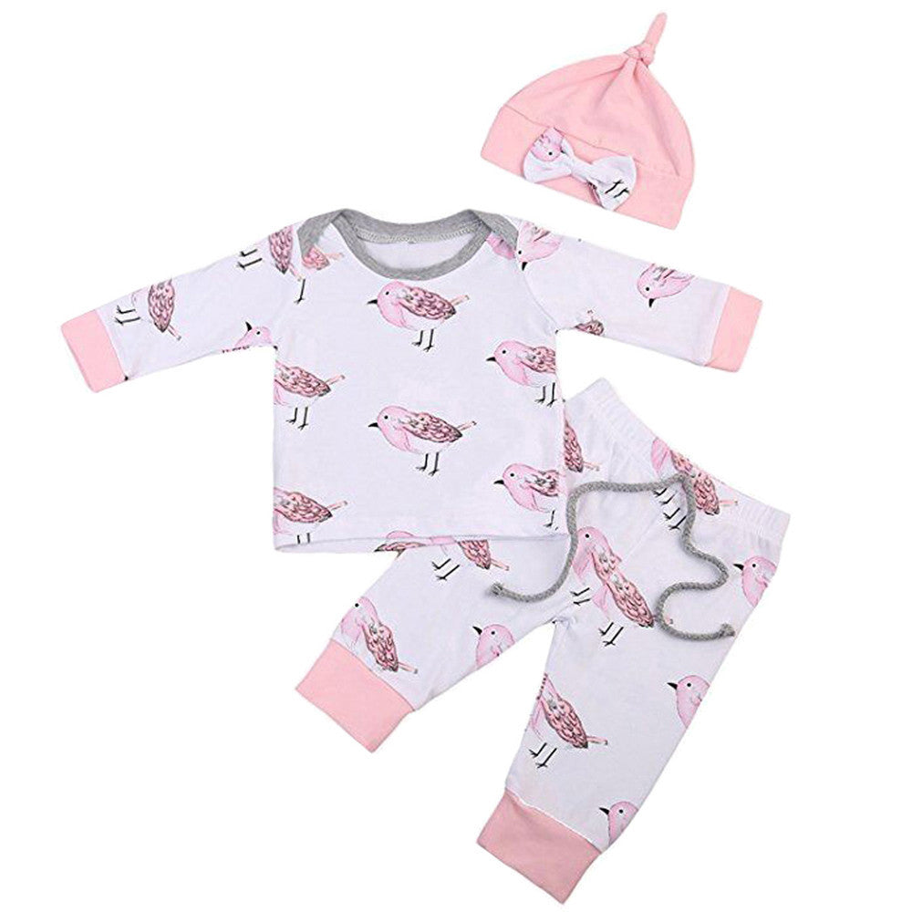 Pink Bird - 3 Piece Outfit - 6M to 24M