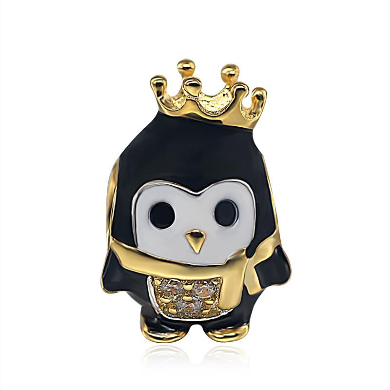 925 Silver Bracelet Charm - Penguin with Golden Crown and Scarf - (Fits Pandora Charms Bracelets)