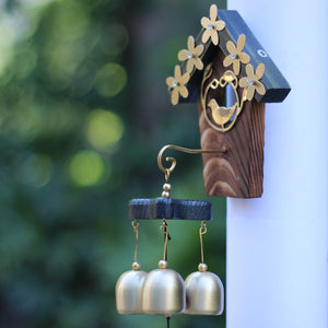 Wind Chimes - Wooden Bird House with Brass Colored Flower and Bell Accents