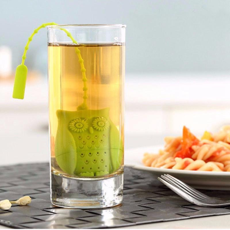 Silicone Owl Tea Strainer - Orange