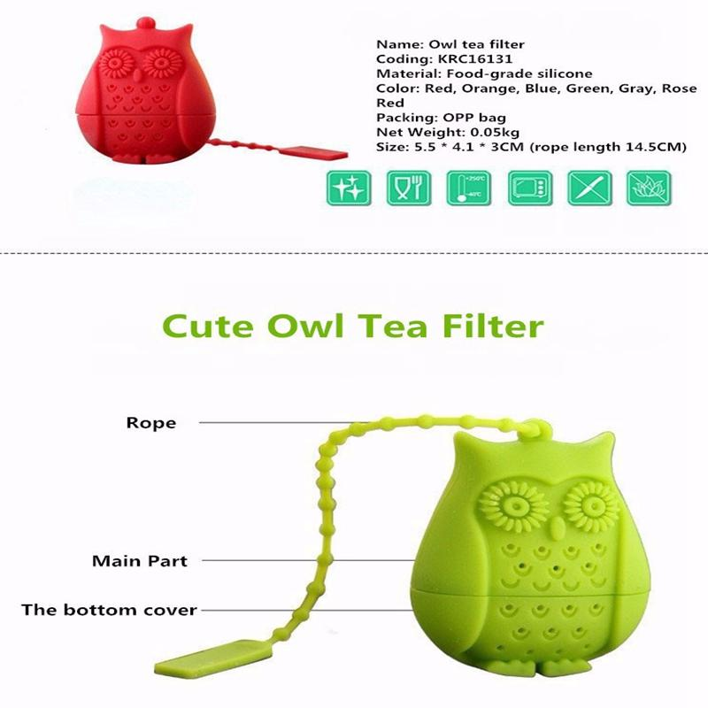 Silicone Owl Tea Strainer - Gray