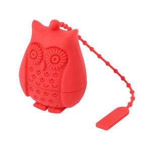 Silicone Owl Tea Strainer - Red