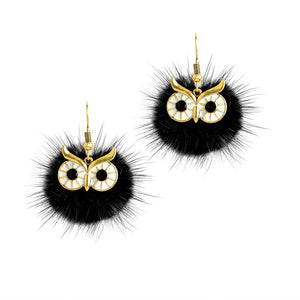 Earrings - Faux Mink Owl Earrings (Available in 6 colors)