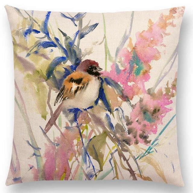 Pillow/Cushion Covers - Colorful Watercolor Birds