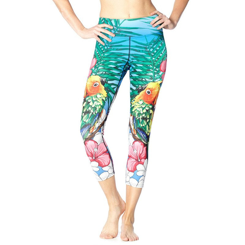Leggings - High Waisted 3/4 Cropped Love Bird Leggings