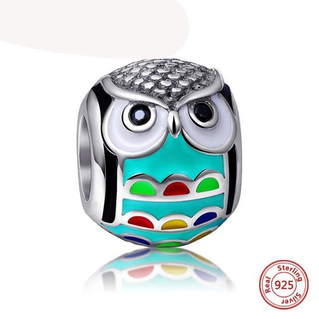 925 Silver Bracelet Charm - Aqua Owl with Bird-themed Charms - (Fits Pandora Charms Bracelets)