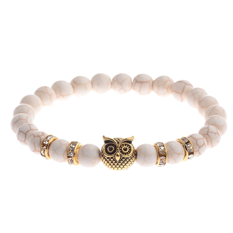 Bracelet - Agate or Lava Stone Beaded Bracelet With Silver or Gold Owl Charm